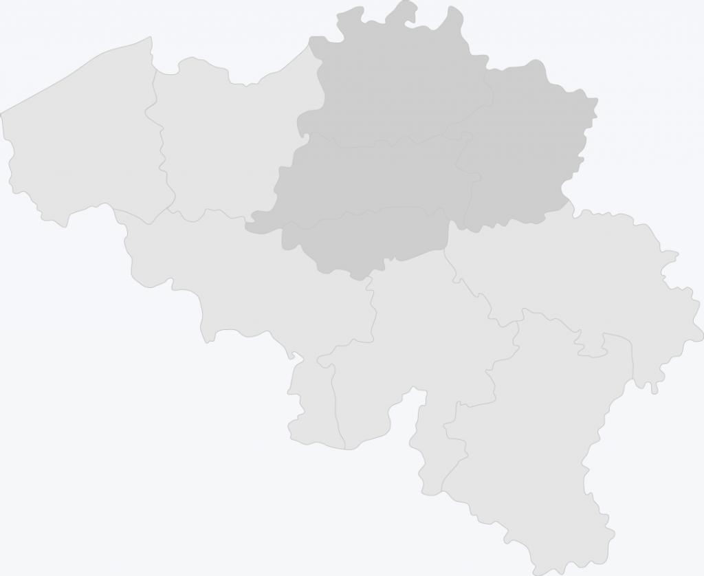Map van België met Antwerpen, Limburg, Vlaams-brabant en Waals-brabant geselecteerd